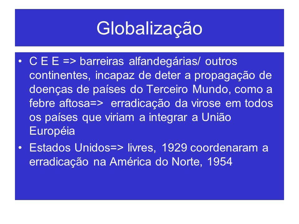 Globalização C E E => barreiras alfandegárias/ outros continentes, incapaz de deter a propagação de doenças de países do Terceiro Mundo, como a febre