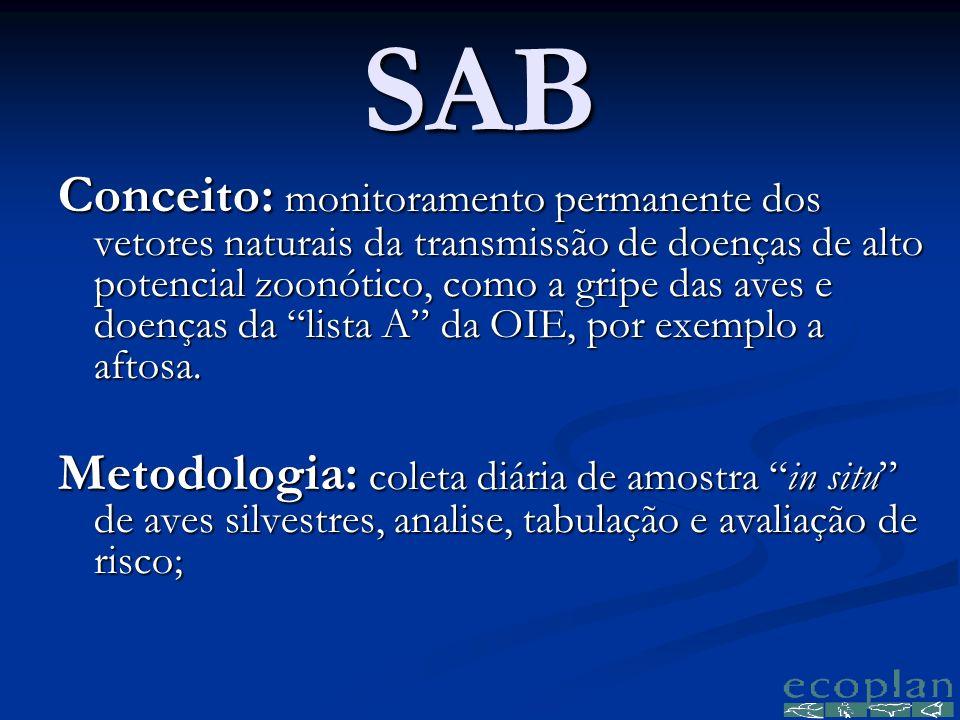 SAB Conceito: monitoramento permanente dos vetores naturais da transmissão de doenças de alto potencial zoonótico, como a gripe das aves e doenças da lista A da OIE, por exemplo a aftosa.