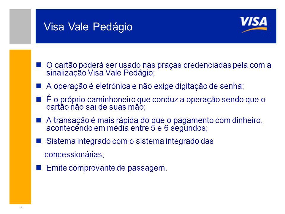 16 O cartão poderá ser usado nas praças credenciadas pela com a sinalização Visa Vale Pedágio; A operação é eletrônica e não exige digitação de senha;