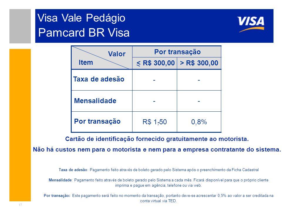 17 Visa Vale Pedágio Valor Item Por transação R$ 300,00 Taxa de adesão Mensalidade Por transação - - - R$ 1,50 - - 0,8% Taxa de adesão: Pagamento feit