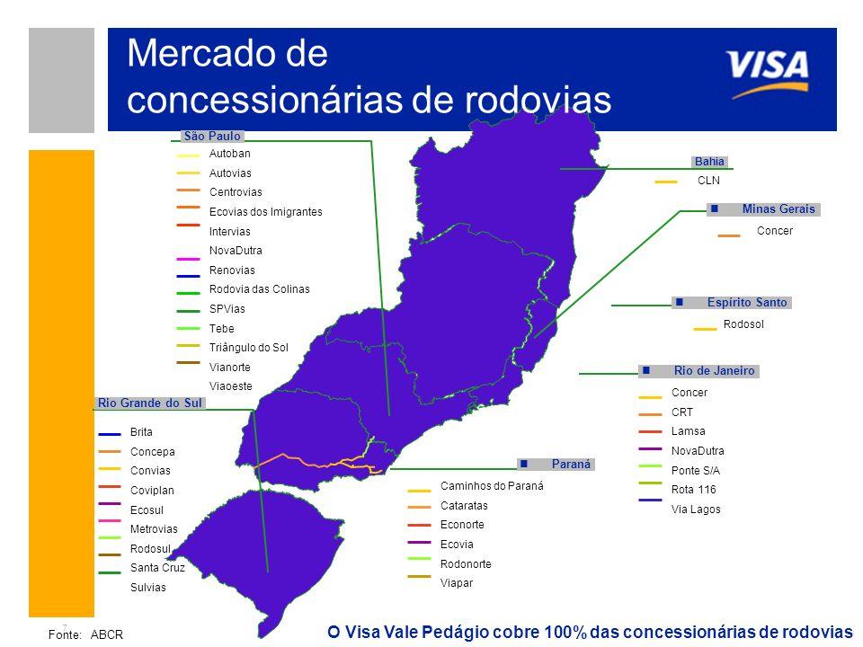 7 Autoban Autovias Centrovias Ecovias dos Imigrantes Intervias NovaDutra Renovias Rodovia das Colinas SPVias Tebe Triângulo do Sol Vianorte Viaoeste C