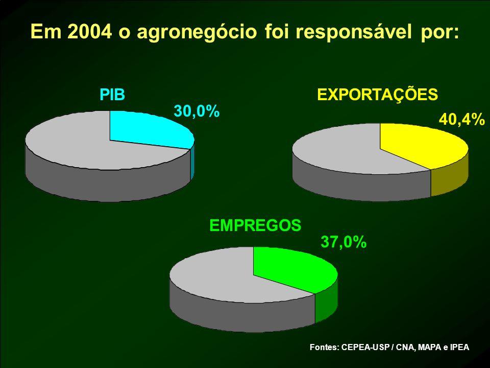 Em 2004 o agronegócio foi responsável por: PIB EMPREGOS EXPORTAÇÕES Fontes: CEPEA-USP / CNA, MAPA e IPEA 30,0% 40,4% 37,0%