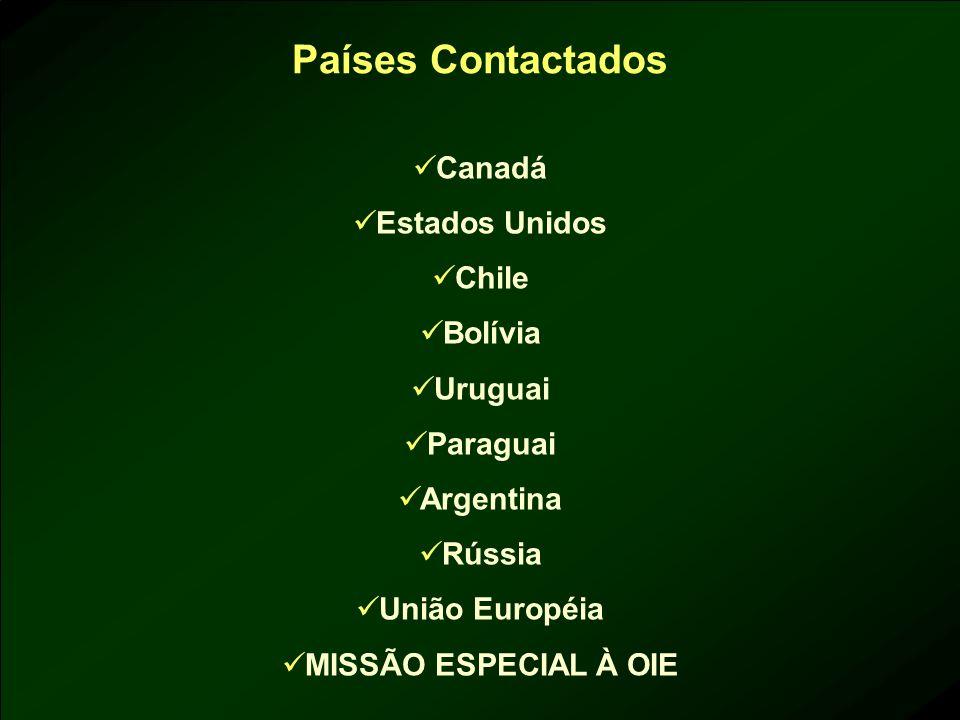 Países Contactados Canadá Estados Unidos Chile Bolívia Uruguai Paraguai Argentina Rússia União Européia MISSÃO ESPECIAL À OIE