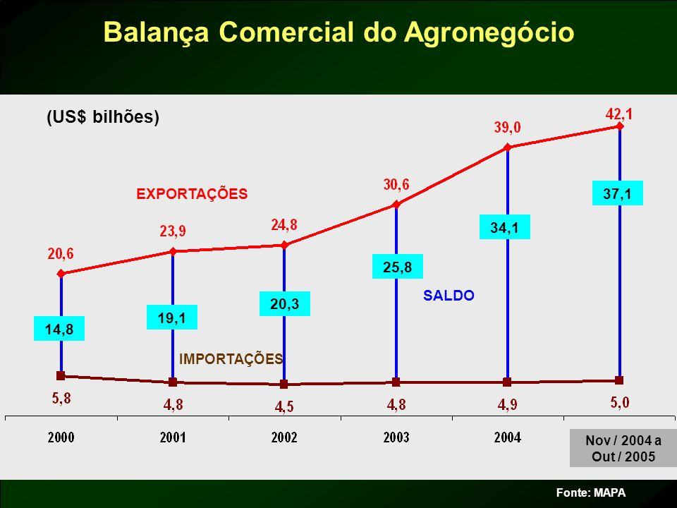 Balança Comercial do Agronegócio Fonte: MAPA EXPORTAÇÕES IMPORTAÇÕES SALDO 14,8 20,3 25,8 34,1 37,1 19,1 (US$ bilhões) Nov / 2004 a Out / 2005