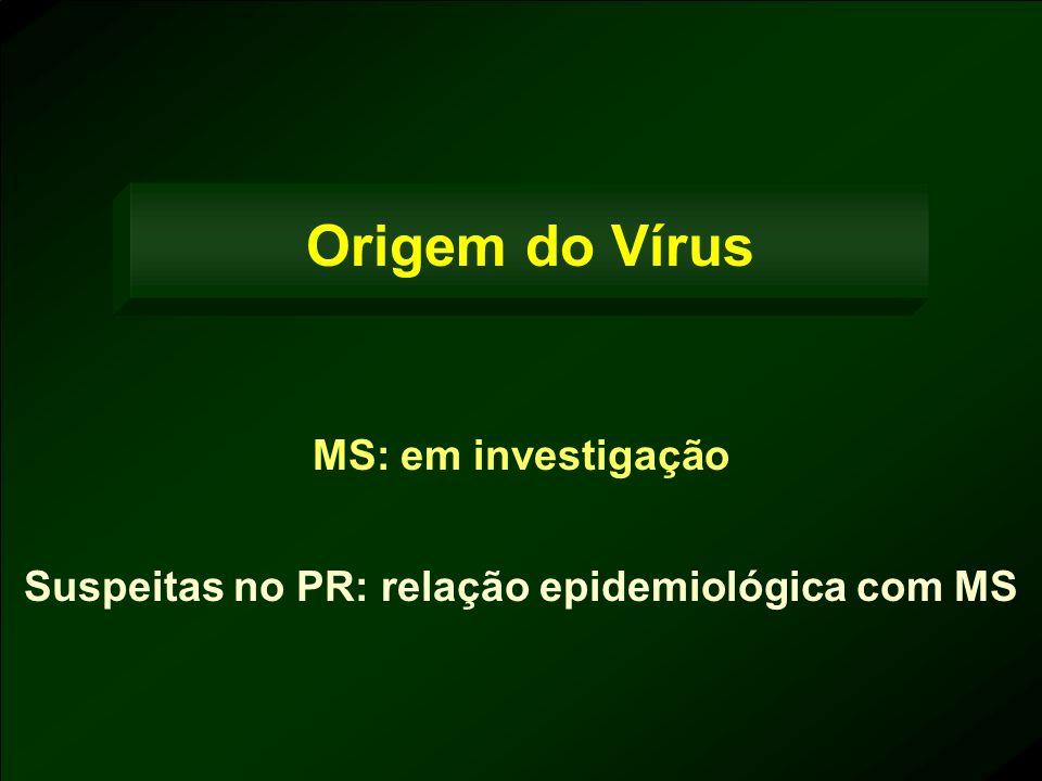 Origem do Vírus MS: em investigação Suspeitas no PR: relação epidemiológica com MS