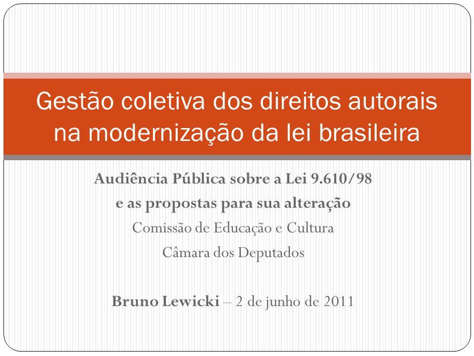 Audiência Pública sobre a Lei 9.610/98 e as propostas para sua alteração Comissão de Educação e Cultura Câmara dos Deputados Bruno Lewicki – 2 de junho de 2011 Gestão coletiva dos direitos autorais na modernização da lei brasileira