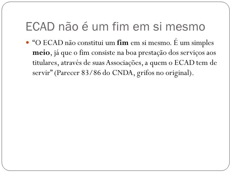 ECAD não é um fim em si mesmo O ECAD não constitui um fim em si mesmo.