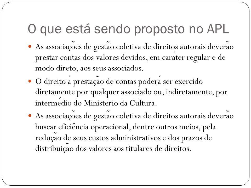 O que está sendo proposto no APL As associac ̧ o ̃ es de gesta ̃ o coletiva de direitos autorais devera ̃ o prestar contas dos valores devidos, em carater regular e de modo direto, aos seus associados.