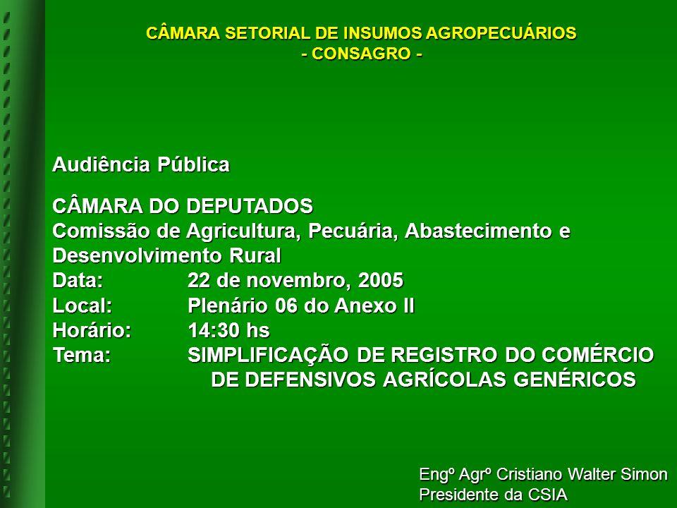 Audiência Pública CÂMARA DO DEPUTADOS Comissão de Agricultura, Pecuária, Abastecimento e Desenvolvimento Rural Data:22 de novembro, 2005 Local:Plenári