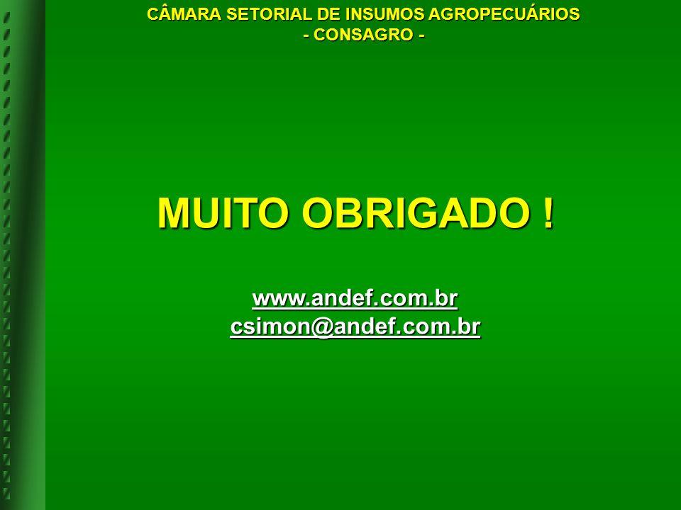 MUITO OBRIGADO ! www.andef.com.br csimon@andef.com.br CÂMARA SETORIAL DE INSUMOS AGROPECUÁRIOS - CONSAGRO -