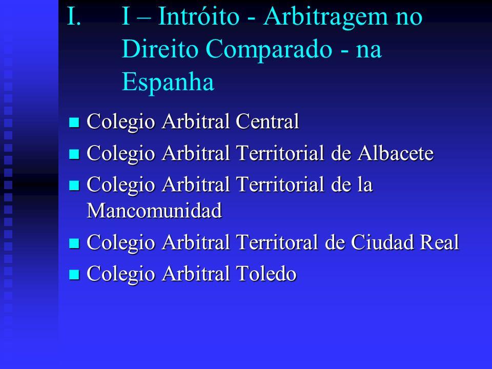I.I – Intróito - Arbitragem no Direito Comparado - na Espanha Colegio Arbitral Central Colegio Arbitral Central Colegio Arbitral Territorial de Albace