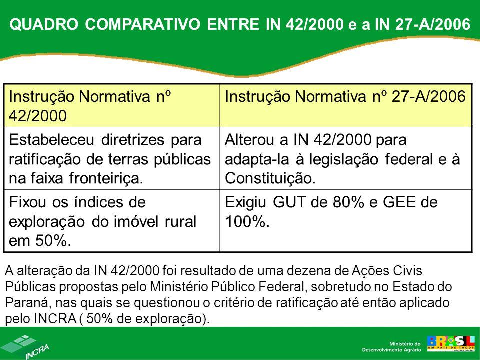 QUADRO COMPARATIVO ENTRE IN 42/2000 e a IN 27-A/2006 Instrução Normativa nº 42/2000 Instrução Normativa nº 27-A/2006 Estabeleceu diretrizes para ratif