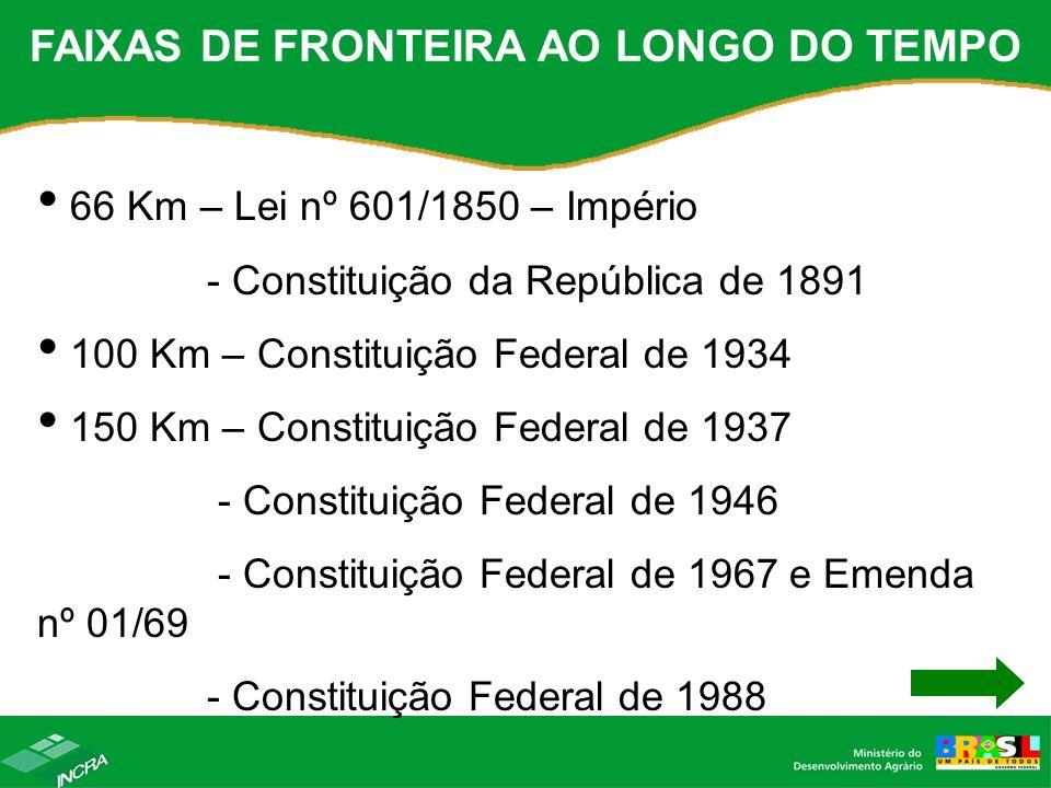 FAIXAS DE FRONTEIRA AO LONGO DO TEMPO 66 Km – Lei nº 601/1850 – Império - Constituição da República de 1891 100 Km – Constituição Federal de 1934 150