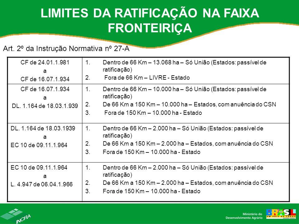 LIMITES DA RATIFICAÇÃO NA FAIXA FRONTEIRIÇA Art. 2º da Instrução Normativa nº 27-A CF de 24.01.1.981 a CF de 16.07.1.934 1.Dentro de 66 Km – 13.068 ha