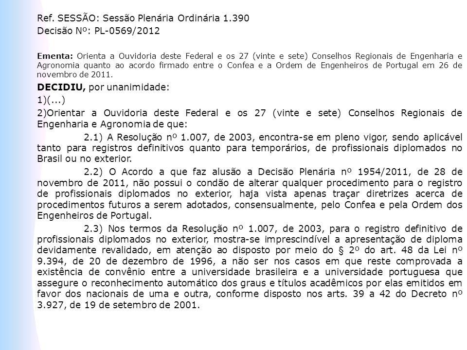 Ref. SESSÃO: Sessão Plenária Ordinária 1.390 Decisão Nº: PL-0569/2012 Ementa: Orienta a Ouvidoria deste Federal e os 27 (vinte e sete) Conselhos Regio