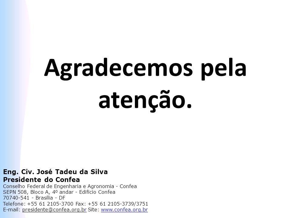 Agradecemos pela atenção. Eng. Civ. José Tadeu da Silva Presidente do Confea Conselho Federal de Engenharia e Agronomia - Confea SEPN 508, Bloco A, 4º