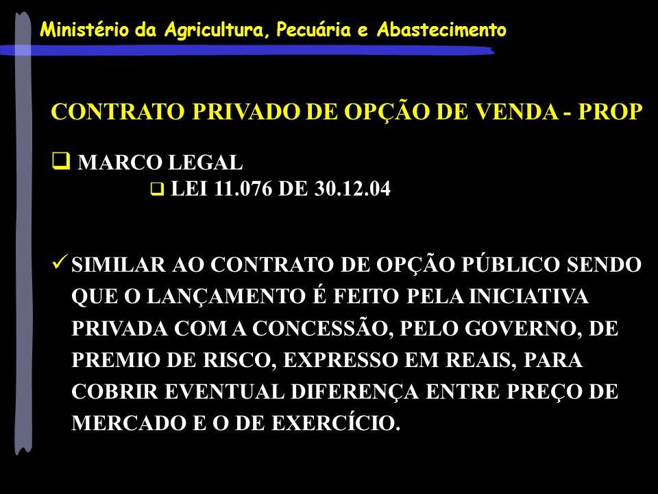 Ministério da Agricultura, Pecuária e Abastecimento CONTRATO PRIVADO DE OPÇÃO DE VENDA - PROP MARCO LEGAL LEI 11.076 DE 30.12.04 SIMILAR AO CONTRATO D