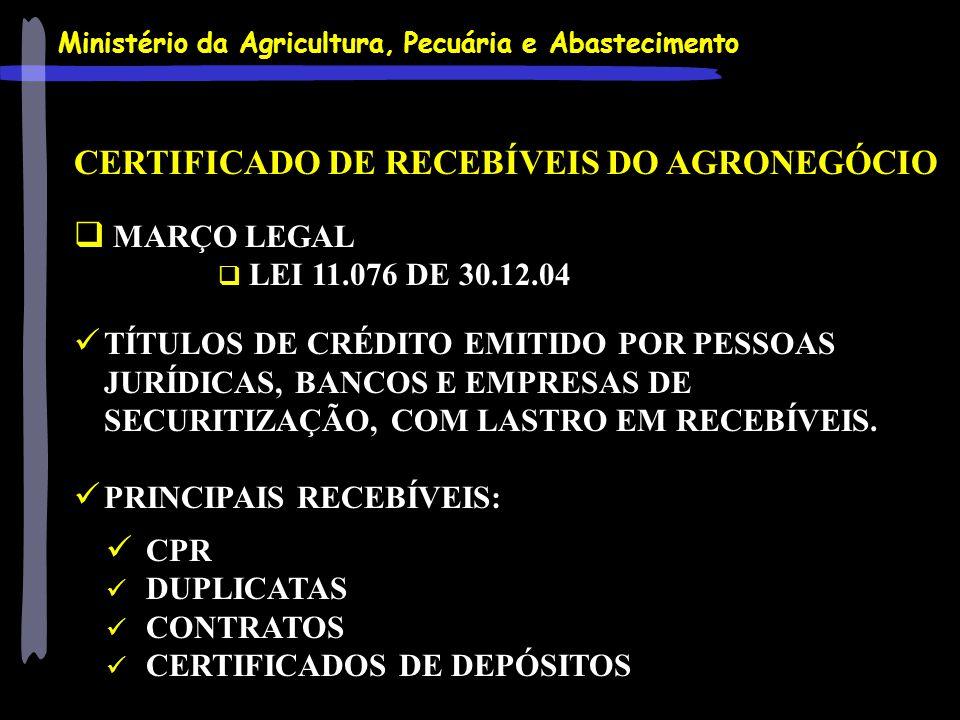 Ministério da Agricultura, Pecuária e Abastecimento CERTIFICADO DE RECEBÍVEIS DO AGRONEGÓCIO MARÇO LEGAL LEI 11.076 DE 30.12.04 TÍTULOS DE CRÉDITO EMI