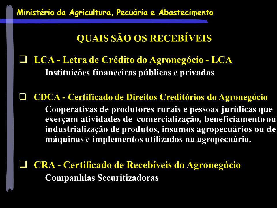 Ministério da Agricultura, Pecuária e Abastecimento LCA - Letra de Crédito do Agronegócio - LCA Instituições financeiras públicas e privadas CDCA - Ce