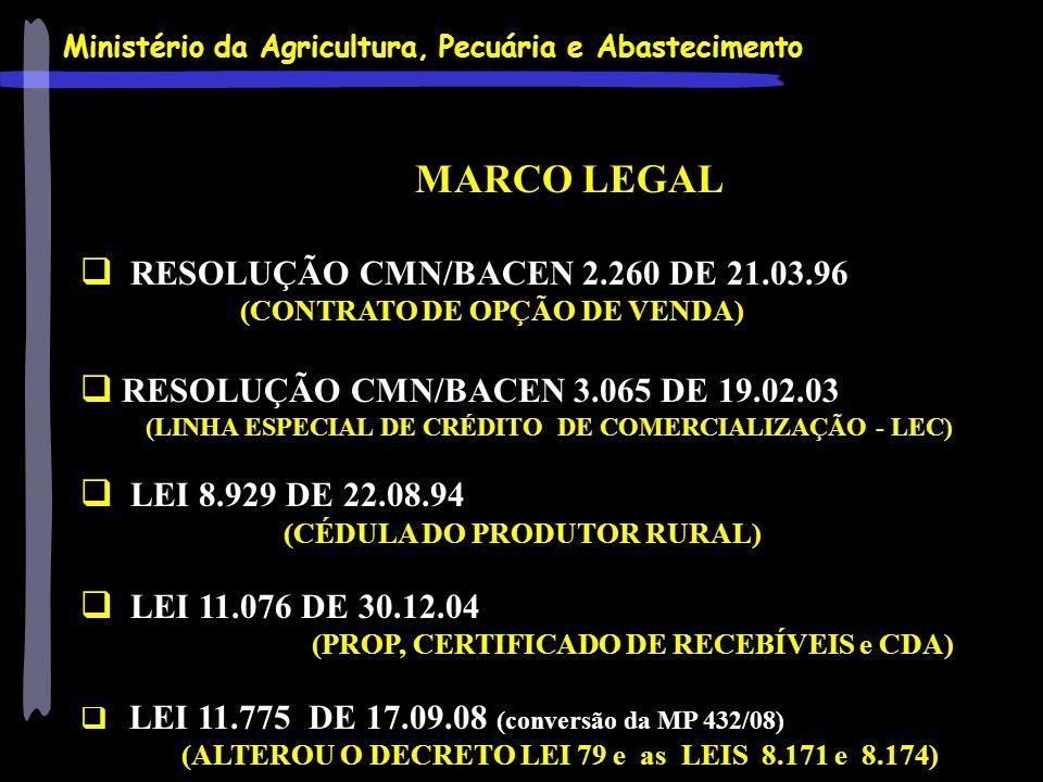 Ministério da Agricultura, Pecuária e Abastecimento MARCO LEGAL RESOLUÇÃO CMN/BACEN 2.260 DE 21.03.96 (CONTRATO DE OPÇÃO DE VENDA) RESOLUÇÃO CMN/BACEN