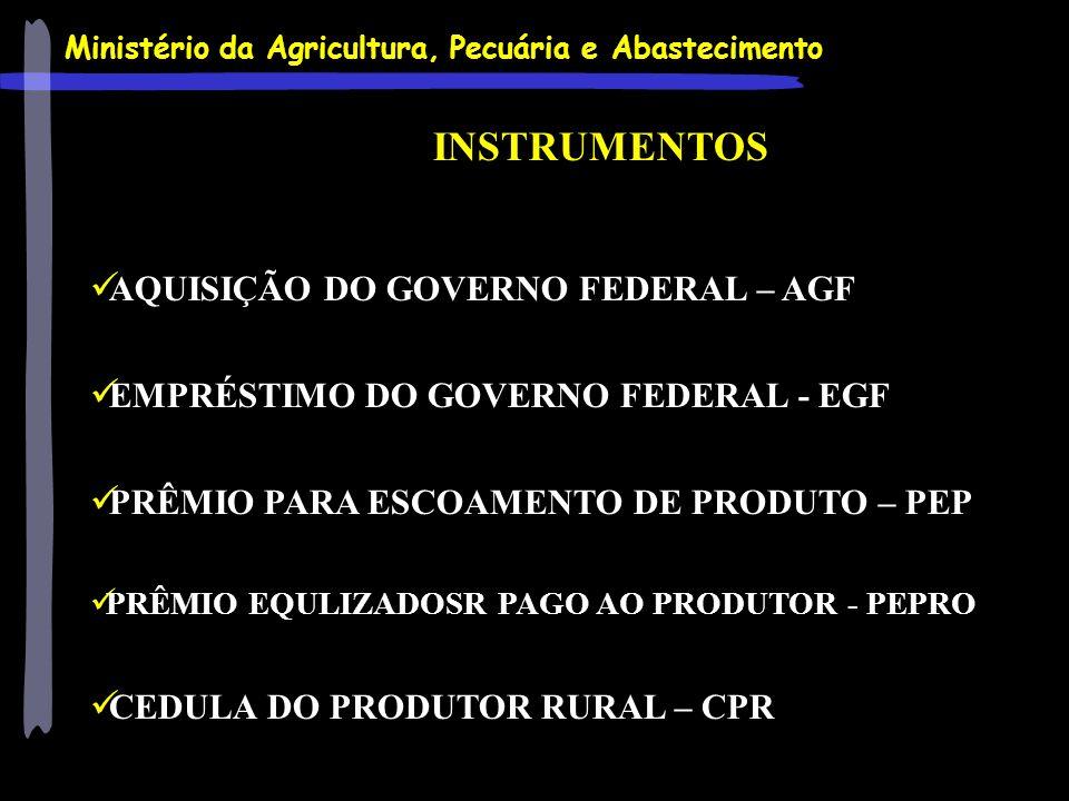 Ministério da Agricultura, Pecuária e Abastecimento INSTRUMENTOS AQUISIÇÃO DO GOVERNO FEDERAL – AGF EMPRÉSTIMO DO GOVERNO FEDERAL - EGF PRÊMIO PARA ES
