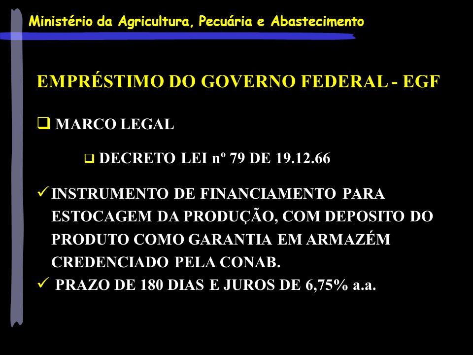 Ministério da Agricultura, Pecuária e Abastecimento EMPRÉSTIMO DO GOVERNO FEDERAL - EGF MARCO LEGAL DECRETO LEI nº 79 DE 19.12.66 INSTRUMENTO DE FINAN