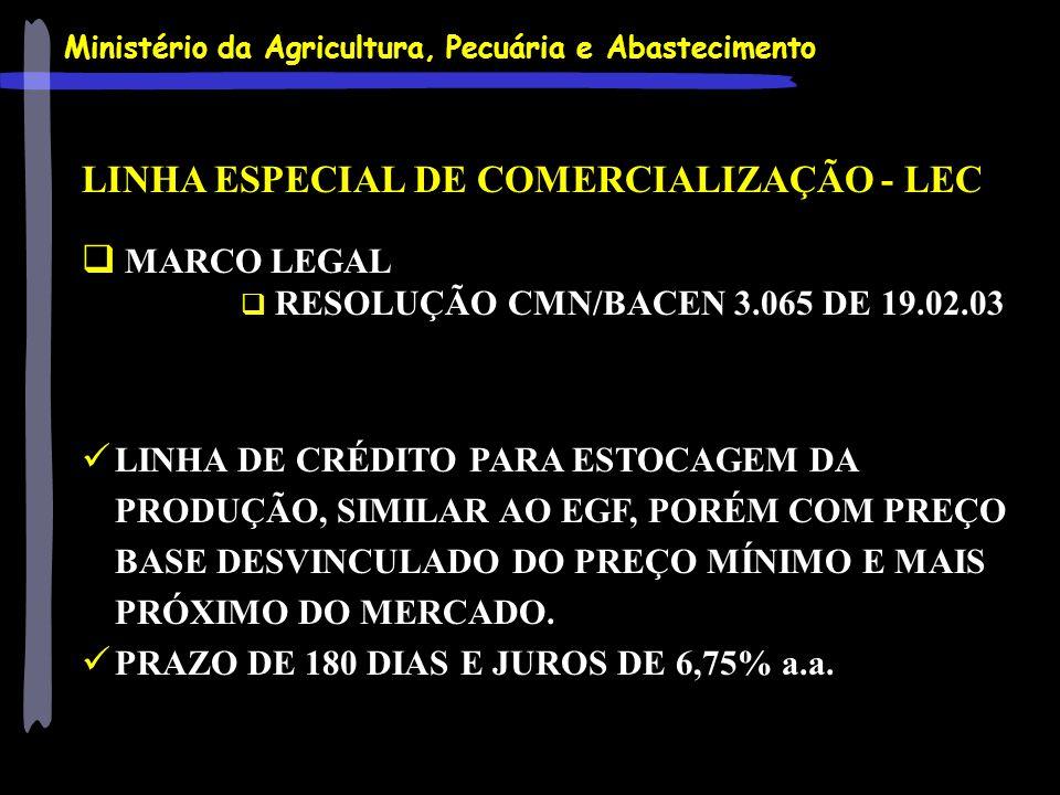 Ministério da Agricultura, Pecuária e Abastecimento LINHA ESPECIAL DE COMERCIALIZAÇÃO - LEC MARCO LEGAL RESOLUÇÃO CMN/BACEN 3.065 DE 19.02.03 LINHA DE