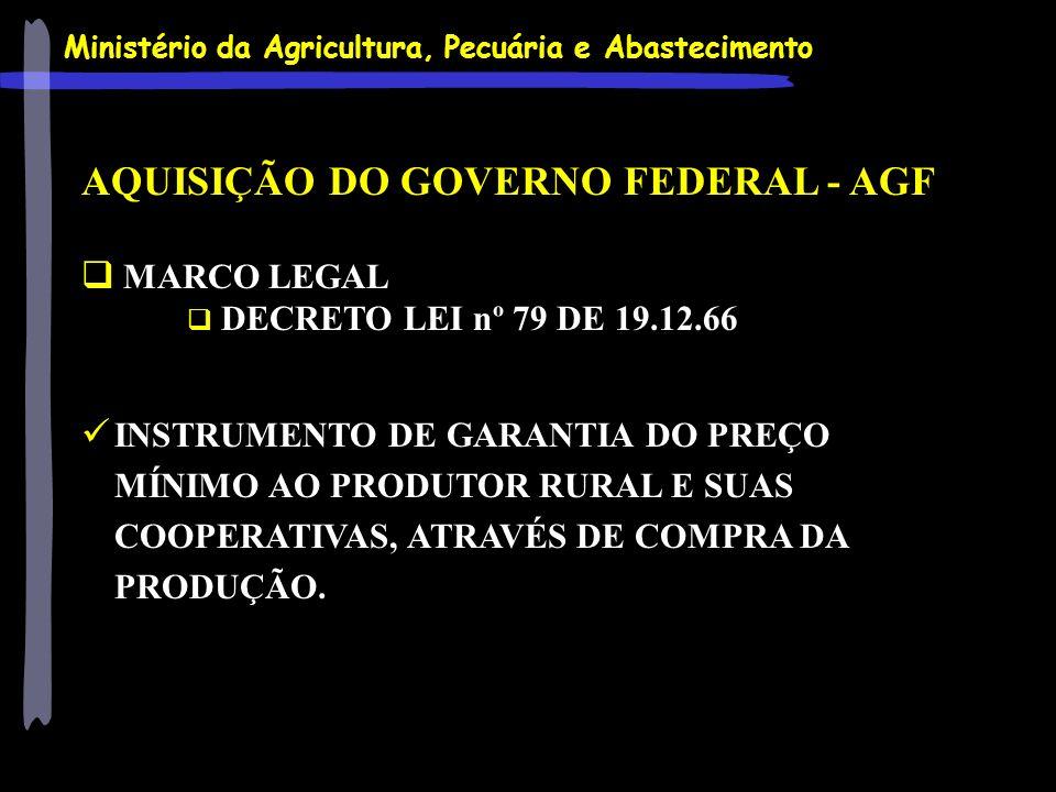 Ministério da Agricultura, Pecuária e Abastecimento AQUISIÇÃO DO GOVERNO FEDERAL - AGF MARCO LEGAL DECRETO LEI nº 79 DE 19.12.66 INSTRUMENTO DE GARANT