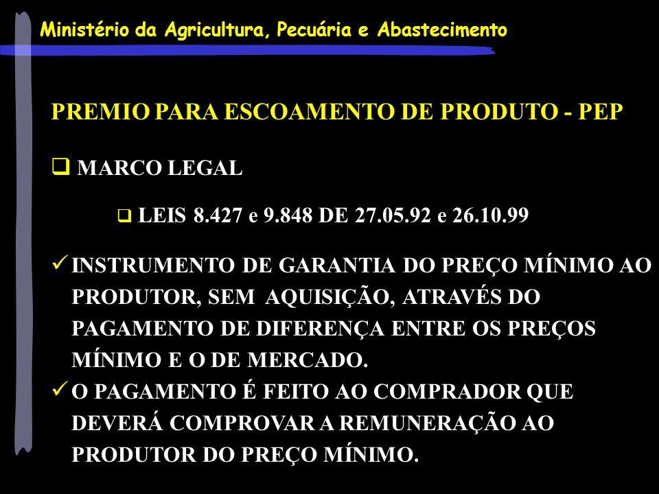 Ministério da Agricultura, Pecuária e Abastecimento PREMIO PARA ESCOAMENTO DE PRODUTO - PEP MARCO LEGAL LEIS 8.427 e 9.848 DE 27.05.92 e 26.10.99 INST