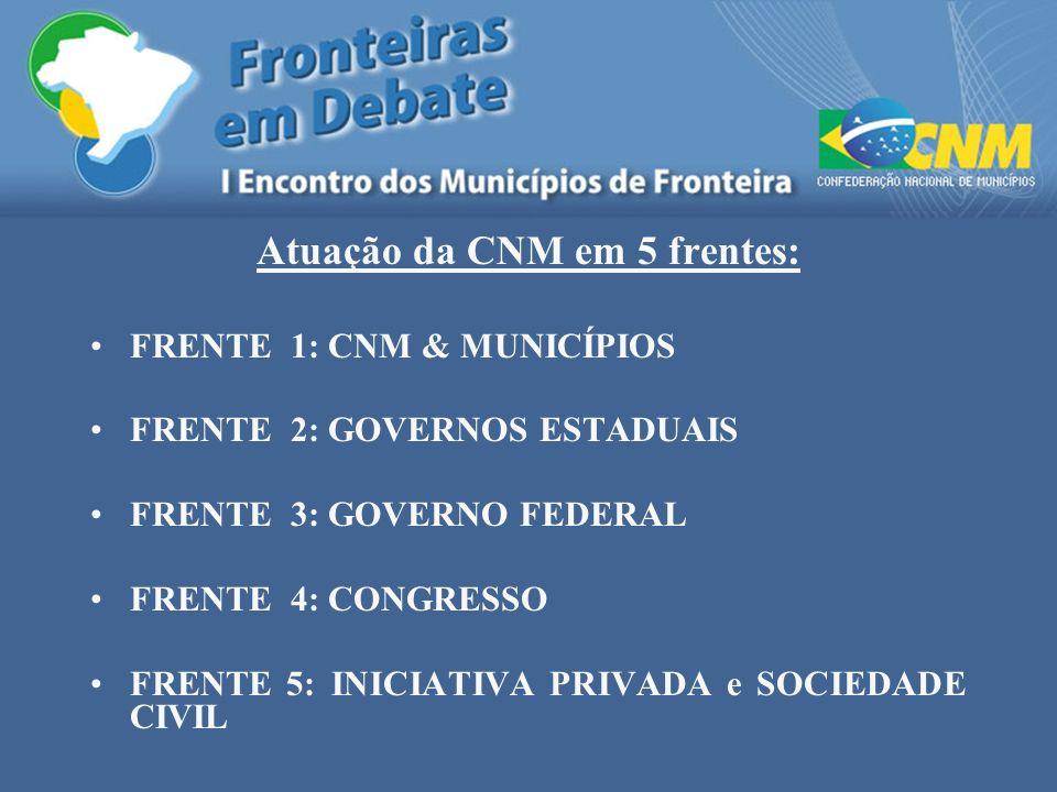 Atuação da CNM em 5 frentes: FRENTE 1: CNM & MUNICÍPIOS FRENTE 2: GOVERNOS ESTADUAIS FRENTE 3: GOVERNO FEDERAL FRENTE 4: CONGRESSO FRENTE 5: INICIATIV