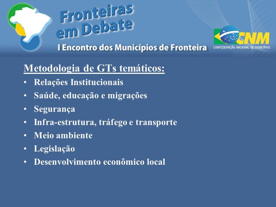 Metodologia de GTs temáticos: Relações Institucionais Saúde, educação e migrações Segurança Infra-estrutura, tráfego e transporte Meio ambiente Legisl
