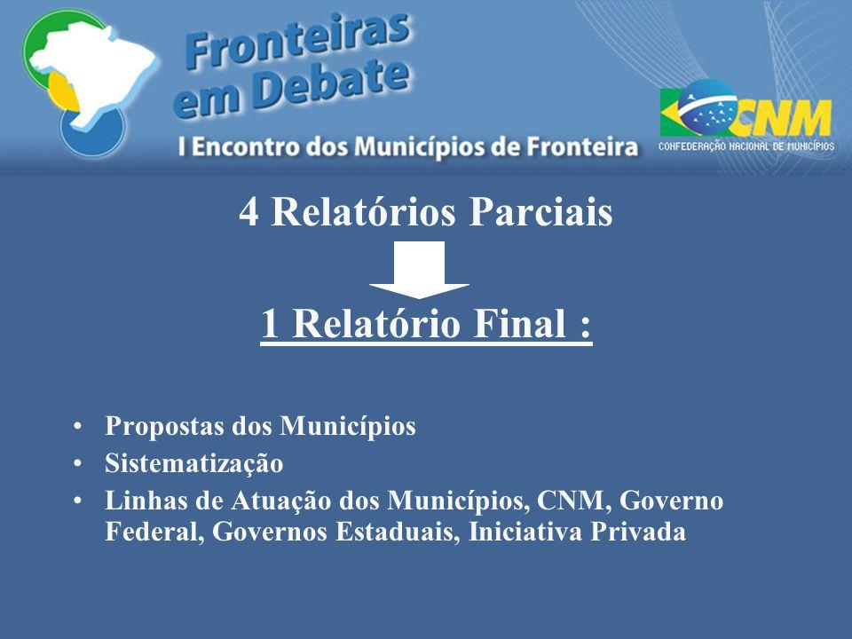 4 Relatórios Parciais 1 Relatório Final : Propostas dos Municípios Sistematização Linhas de Atuação dos Municípios, CNM, Governo Federal, Governos Est