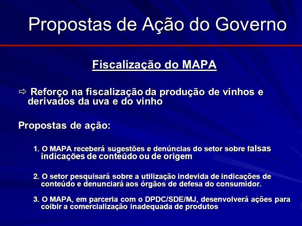 Propostas de Ação do Governo Fiscalização do MAPA Fiscalização do MAPA Reforço na fiscalização da produção de vinhos e derivados da uva e do vinho Ref