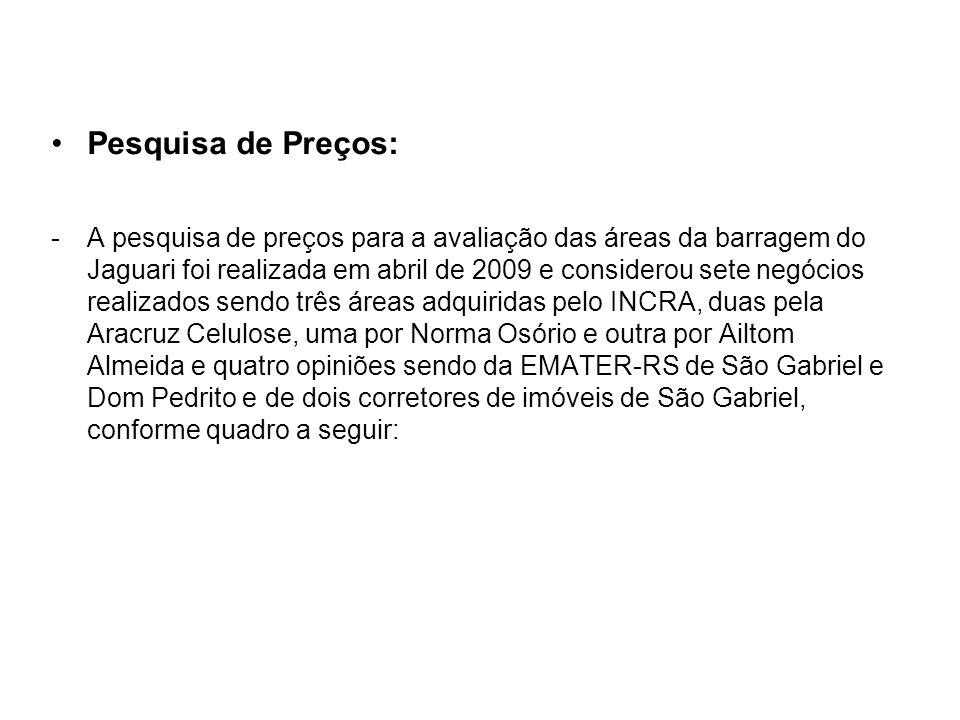 Pesquisa de Preços: -A pesquisa de preços para a avaliação das áreas da barragem do Jaguari foi realizada em abril de 2009 e considerou sete negócios