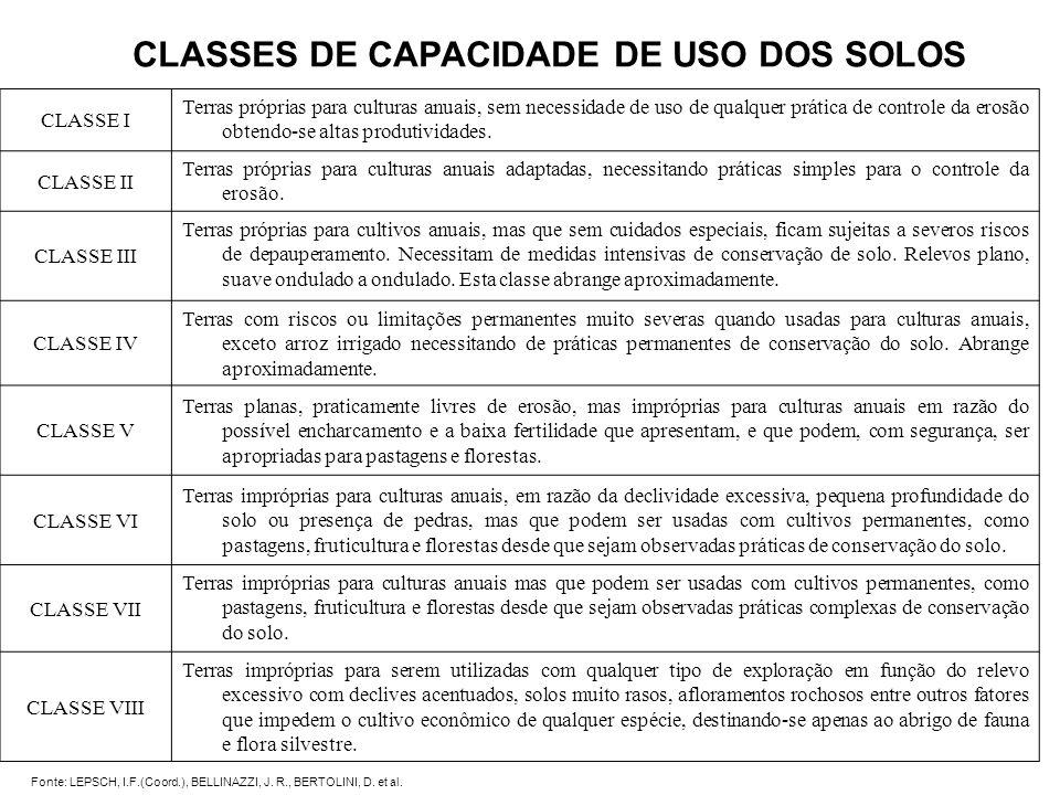 CLASSES DE CAPACIDADE DE USO DOS SOLOS CLASSE I Terras próprias para culturas anuais, sem necessidade de uso de qualquer prática de controle da erosão