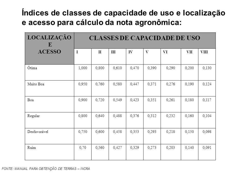 LOCALIZAÇÃO E ACESSO CLASSES DE CAPACIDADE DE USO IIIIIIIVVVIVIIVIII Ótima1,0000,8000,6100,4700,3900,2900,2000,130 Muito Boa0,9500,7600,5800,4470,3710