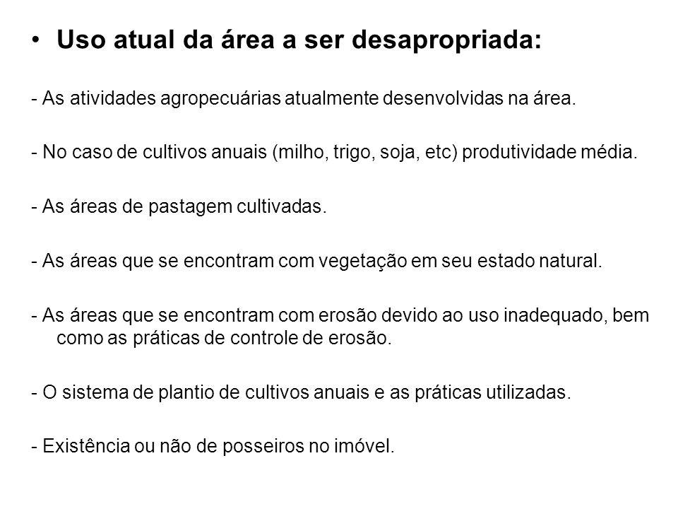 Uso atual da área a ser desapropriada: - As atividades agropecuárias atualmente desenvolvidas na área. - No caso de cultivos anuais (milho, trigo, soj