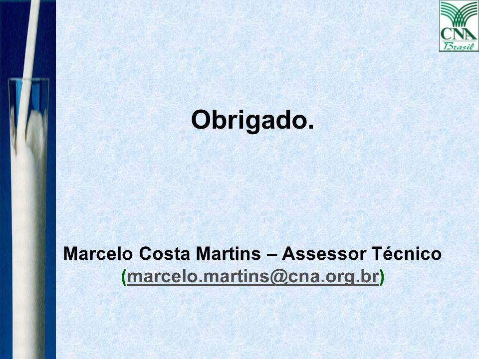 Obrigado. Marcelo Costa Martins – Assessor Técnico (marcelo.martins@cna.org.br)cna.org.br