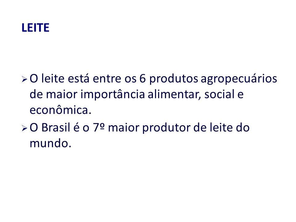 O leite está entre os 6 produtos agropecuários de maior importância alimentar, social e econômica.