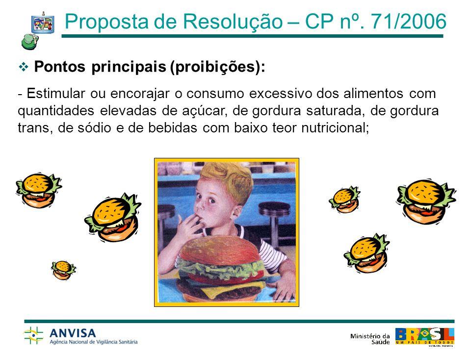 Pontos principais (proibições): - Utilizar figuras, desenhos, personalidades e personagens que sejam cativos ou admirados por esse público alvo; Artigo 6º Proposta de Resolução – CP nº.