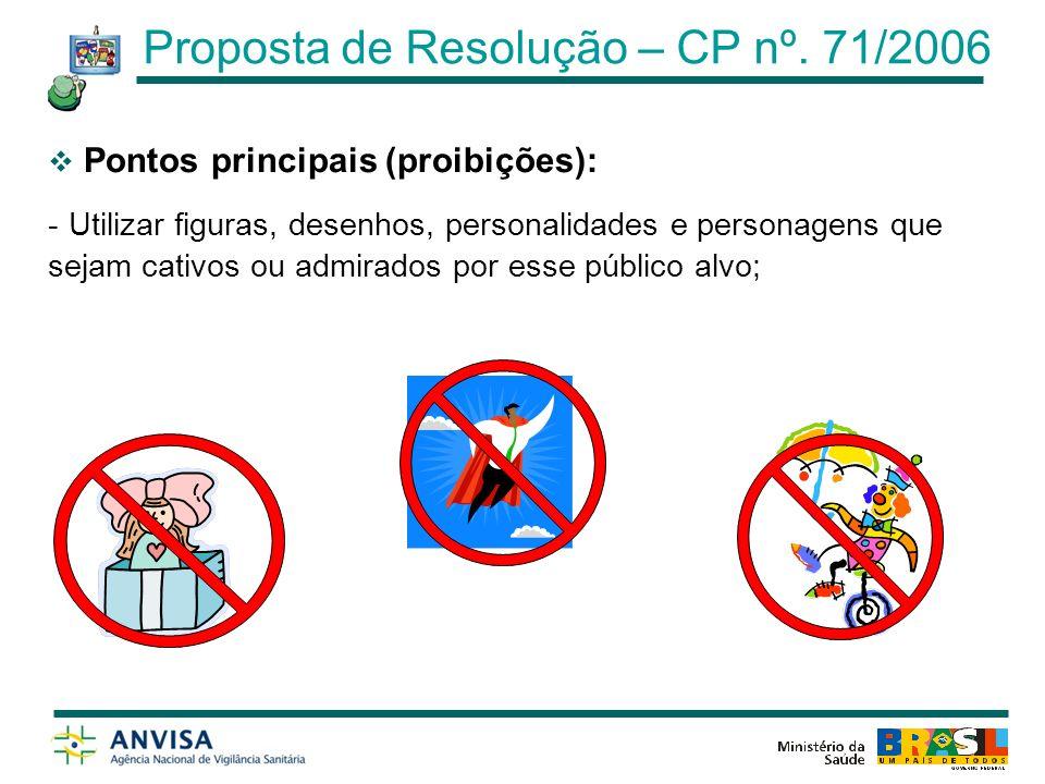 Pontos principais: - A propaganda dos alimentos do escopo somente poderá ser realizada em rádio e televisão entre as vinte e uma e às seis horas; Artigo 7º Proposta de Resolução – CP nº.