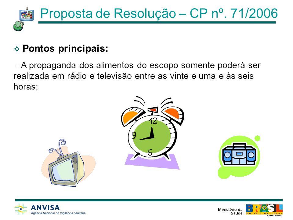 Pontos principais (proibições): - Realizar propaganda em instituições de ensino infantil ou fundamental e em outras entidades públicas ou privadas destinadas a fornecer cuidados às crianças; Artigo 8º Proposta de Resolução – CP nº.