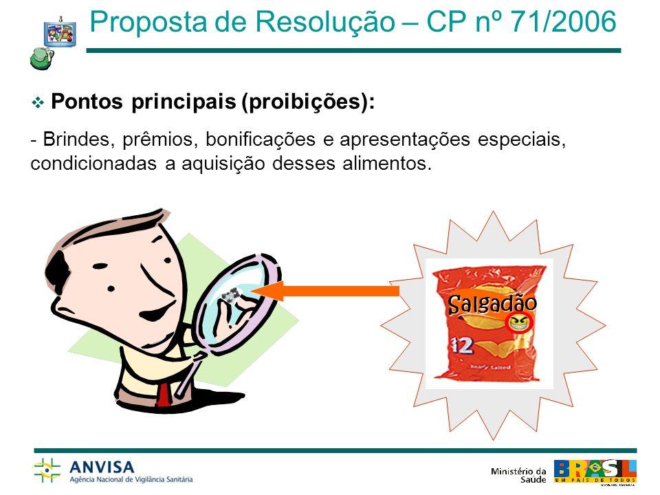 Outros pontos abordados: Estratégias de marketing Amostrasgrátis Cupons de desconto Patrocínio Campanhassociais Proposta de Resolução – CP nº 71/2006