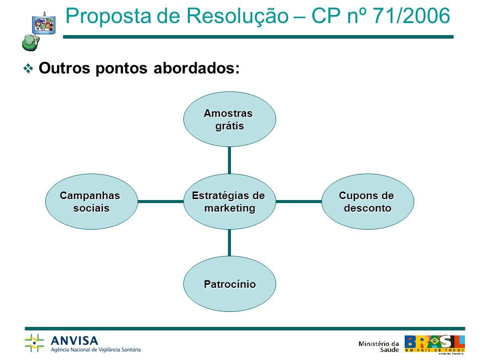 Audiência Pública – 20/08/2009; Publicação – Assunto inserido na Agenda Regulátória da Anvisa de 2009.