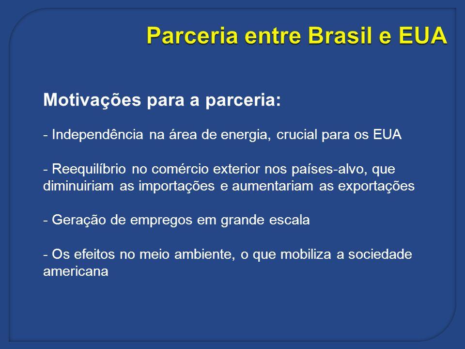 Parceria entre Brasil e EUA Motivações para a parceria: - Independência na área de energia, crucial para os EUA - Reequilíbrio no comércio exterior no