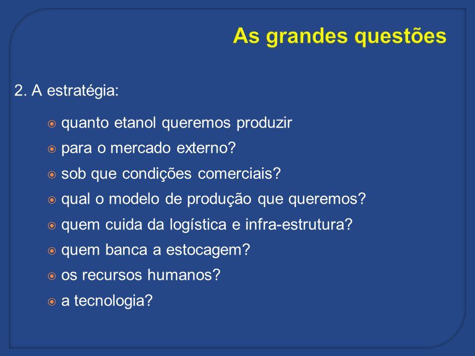 As grandes questões 2. A estratégia: quanto etanol queremos produzir para o mercado externo? sob que condições comerciais? qual o modelo de produção q