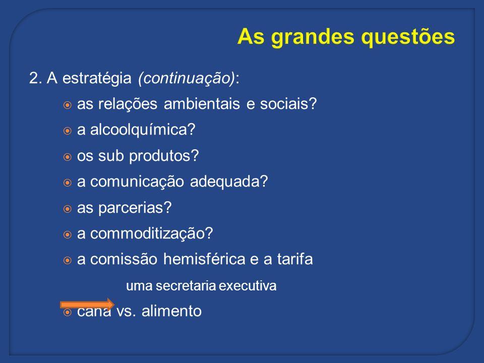 As grandes questões 2. A estratégia (continuação): as relações ambientais e sociais? a alcoolquímica? os sub produtos? a comunicação adequada? as parc