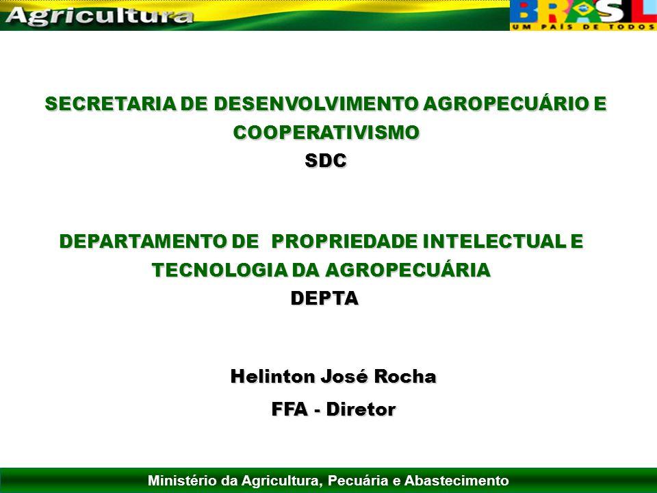 Ministério da Agricultura, Pecuária e Abastecimento SECRETARIA DE DESENVOLVIMENTO AGROPECUÁRIO E COOPERATIVISMO SDC DEPARTAMENTO DE PROPRIEDADE INTELE