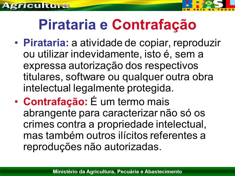 Ministério da Agricultura, Pecuária e Abastecimento Pirataria e Contrafação Pirataria: a atividade de copiar, reproduzir ou utilizar indevidamente, is