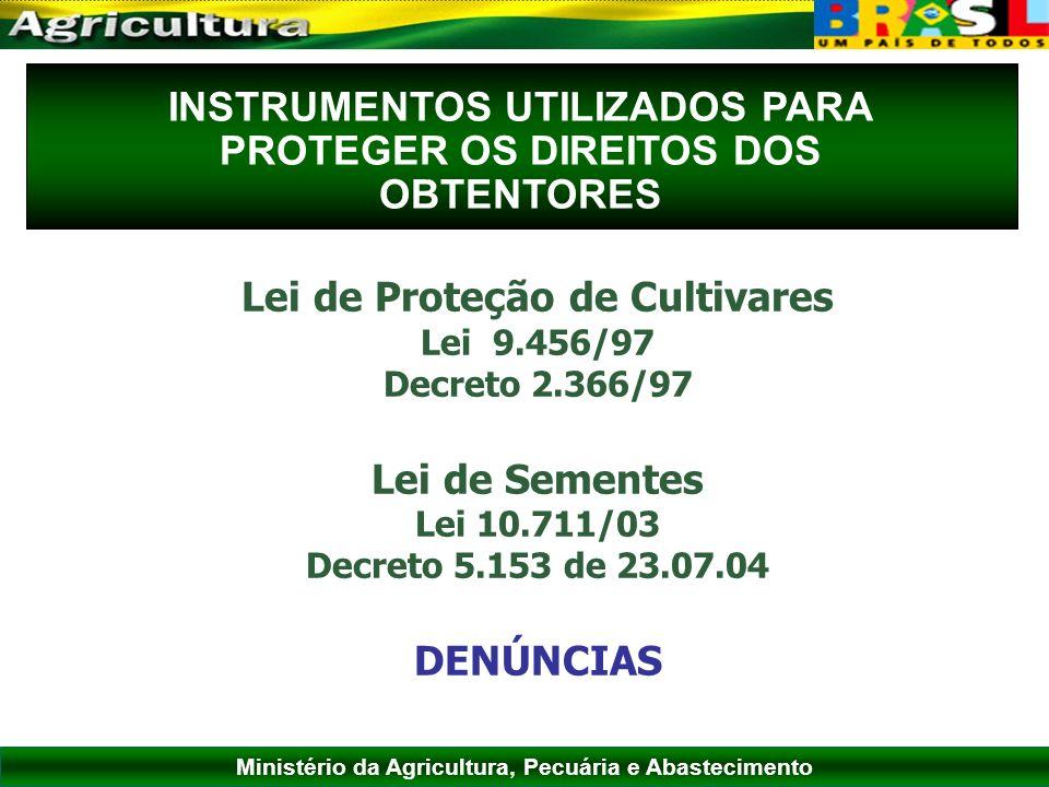 Ministério da Agricultura, Pecuária e Abastecimento INSTRUMENTOS UTILIZADOS PARA PROTEGER OS DIREITOS DOS OBTENTORES Lei de Proteção de Cultivares Lei